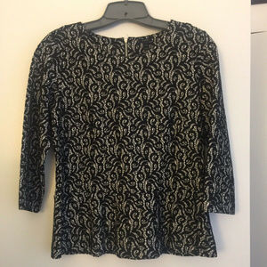 JCrew 3/4 sleeve black and white peplum blouse Siz